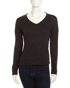 James Perse V-Neck Knit Pullover, Black