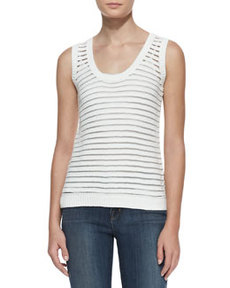Shannon Sheer-Stripe Sweater Tank   Shannon Sheer-Stripe Sweater Tank