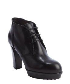 Tod's black leather platform lace up heel oxfords
