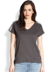 Eileen Fisher Colorblock Linen Top