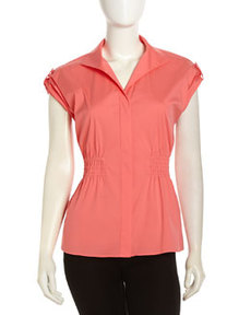 Lafayette 148 New York Rolled-Sleeve Button-Front Stretch Blouse, Dragonfruit