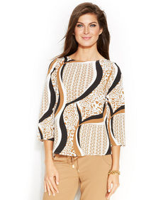 Ellen Tracy Three-Quarter-Sleeve Printed Tunic