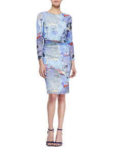 Kay Unger New York Long-Sleeve Abstract-Print Dress, Blue/Multicolor