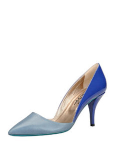 Low-Heel Bicolor Pointed Single-Sole Pump, Blue   Low-Heel Bicolor Pointed Single-Sole Pump, Blue