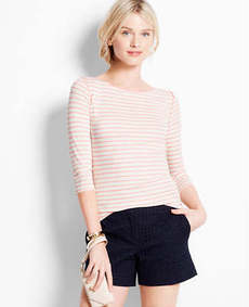 Striped Satin Trim Boatneck Tee