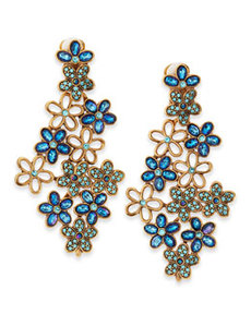 Crystal Daisy Clip-On Earrings, Blue   Crystal Daisy Clip-On Earrings, Blue