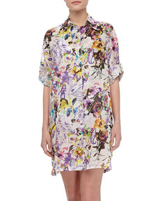 Etro Cotton Floral-Print Shirtdress, White