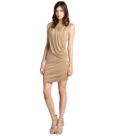 Andrew Marc camel matte jersey grecian sleeveless dress