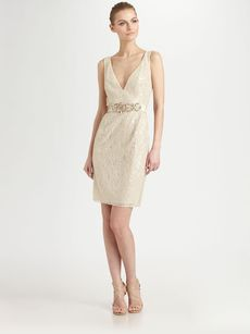 Badgley Mischka Sequined Lace Dress