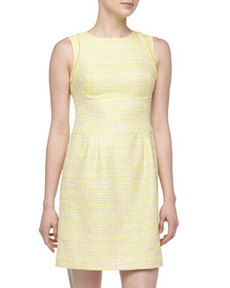 Kay Unger New York Metallic Tweed Fringe-Detailed Dress, Yellow