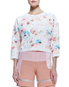 Poppy-Print Cropped Sweatshirt   Poppy-Print Cropped Sweatshirt
