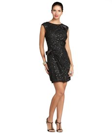 A.B.S. by Allen Schwartz black sleeveless sequin bow dress