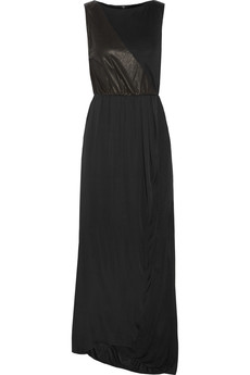 Alice + Olivia Collette leather-trimmed chiffon and jersey maxi dress