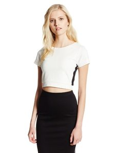Cynthia Rowley Women's Racer Stripe Dbl Knit Short Sleeve Crop Top