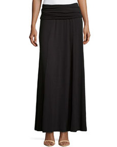 Max Studio Fold-Over Jersey Skirt, Black