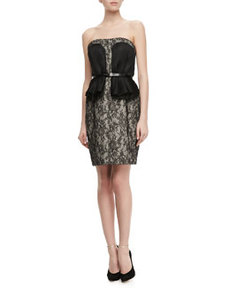 JASON WU Strapless Belted Peplum Lace Dress