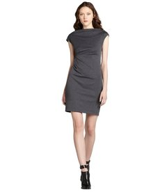 Nicole Miller charcoal ponte stretch capped sleeve dress