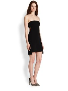 Robert Rodriguez Strapless Crepe Cutout Dress