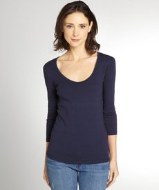 Three Dots night iris three quarter sleeve scoop neck tee