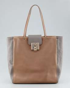Lanvin For Me Two-Tone Shopping Tote Bag, Cream/Gray