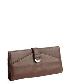 Kooba chocolate brown leather fold-open continental wallet