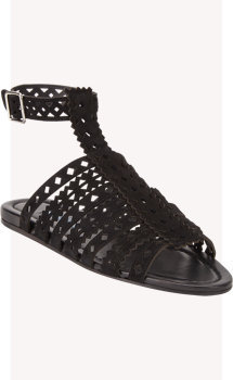 Prada Cutout-Leather Flat Gladiator Sandals