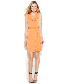 Calvin Klein Sleeveless Belted Moto Dress