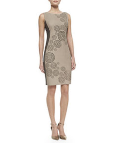 Mila Leather-Front Circular Cutouts Dress, Sandstone   Mila Leather-Front Circular Cutouts Dress, Sandstone