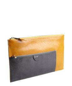 Marc Jacobs ocher and grey leather zip portfolio