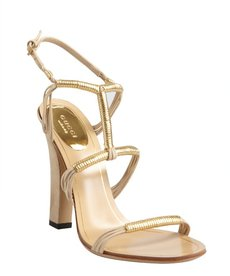Gucci khaki strappy suede goldtone detailed sandals
