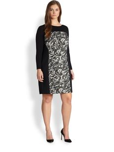 Kay Unger, Sizes 14-24 Patterned Mesh-Detail Dress