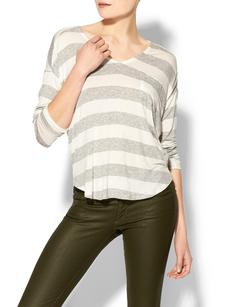 Splendid Striped Drapey Lux Long Sleeve Pocket Tee