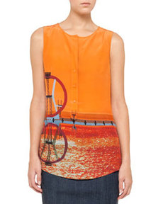 Akris punto Sleeveless Diving Board-Print Blouse, Sunset