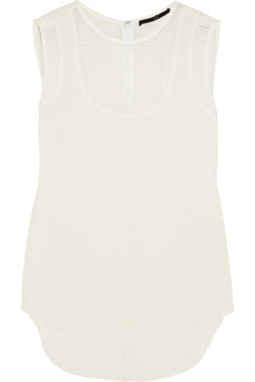 Tibi Mesh-paneled crepe top