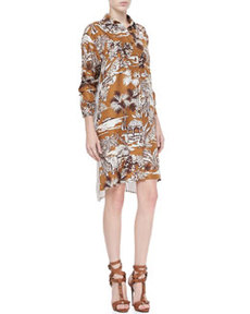 Dual-Print Shirt Dress, Multi   Dual-Print Shirt Dress, Multi