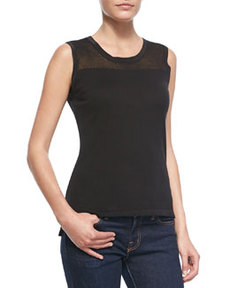 Kemper Sleeveless Top with Knitted Insert at Neck   Kemper Sleeveless Top with Knitted Insert at Neck