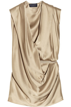 Lanvin Draped washed-satin top