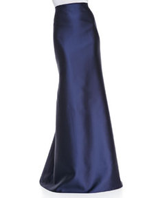 Carmen Marc Valvo Mermaid Back-Seam Floor-Length Skirt, Navy