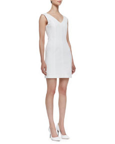 Molana Sleeveless Seamed Sheath Dress, White   Molana Sleeveless Seamed Sheath Dress, White
