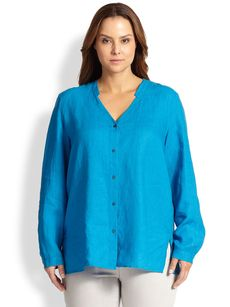 Eileen Fisher, Sizes 14-24 Linen Button-Front Blouse