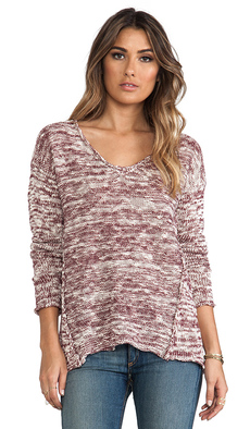 Michael Stars Marl Long Sleeve V Neck Hi-Low Sweater in Burgundy