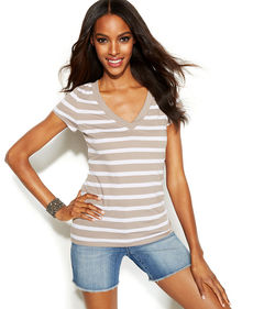 INC International Concepts Short-Sleeve Striped Tee