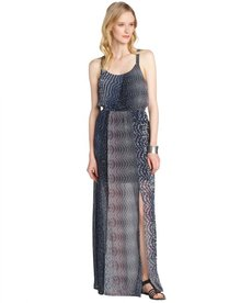 A.B.S. by Allen Schwartz navy stretch printed thigh high slit maxi dress