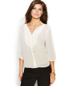 Ellen Tracy Three-Quarter-Sleeve Tie-Neck Blouse