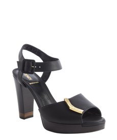 Fendi black leather 'Sanda O' sandals