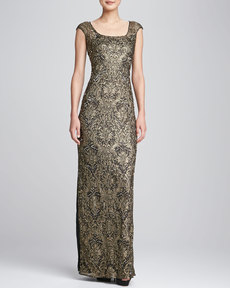 Kay Unger New York Cap-Sleeve Sequined Beaded Gown