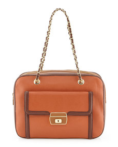 Moschino Medium Colorblock Lizard-Print Satchel, Ruggin/Marron/Cuoio