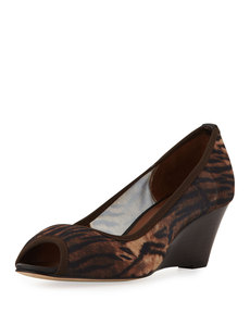 Donald J Pliner Molly Animal-Print Stretch Wedge, Natural