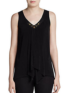 Ellen Tracy Embellished V-Neck Top