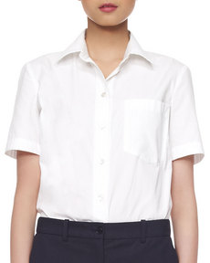 Michael Kors Poplin Cotton Short-Sleeve Blouse